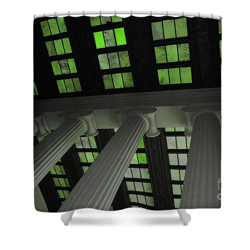 Lincoln Shower Curtain featuring the photograph Column Stain Green by Jost Houk