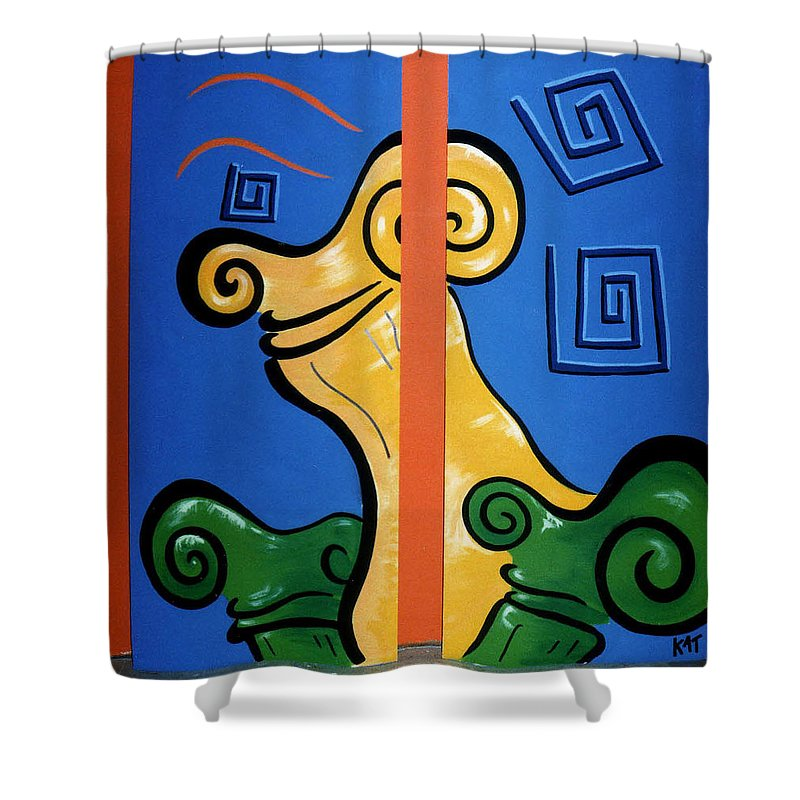 Shower Curtain featuring the painting Columns by Catt Kyriacou