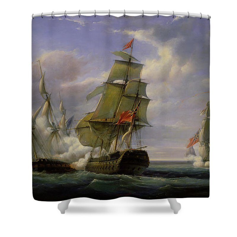 Combat Shower Curtain featuring the painting Combat between the French Frigate La Canonniere and the English Vessel The Tremendous by Pierre Julien Gilbert