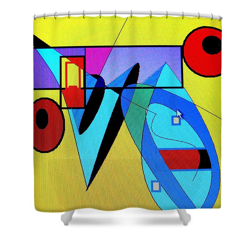Horn Shower Curtain featuring the digital art Come Blow Your Horn by Ian MacDonald