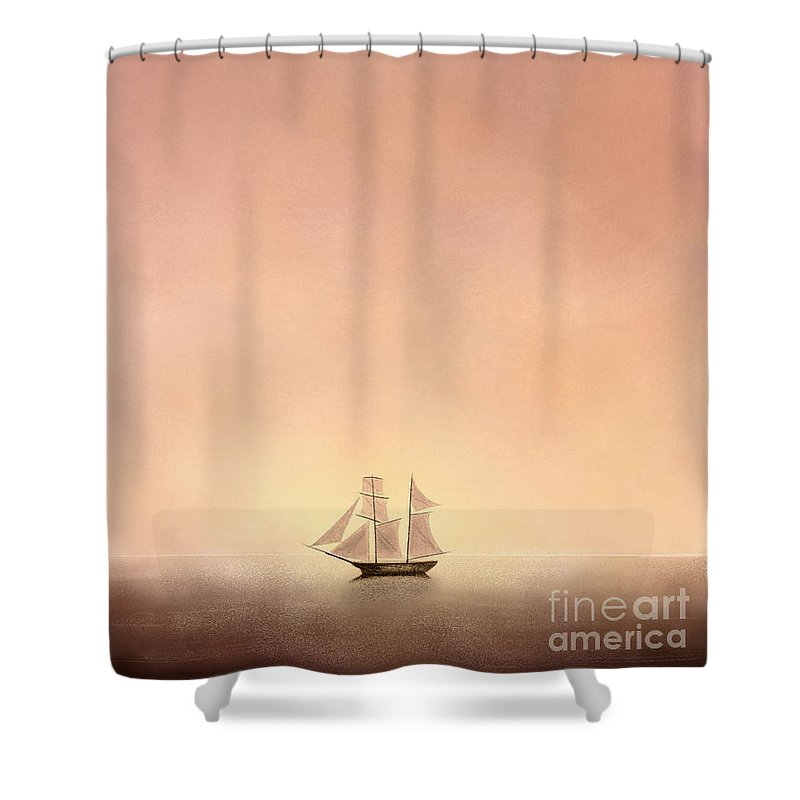 Ship Shower Curtain featuring the drawing Come Sail Away With Me by Rishabh Ranjan