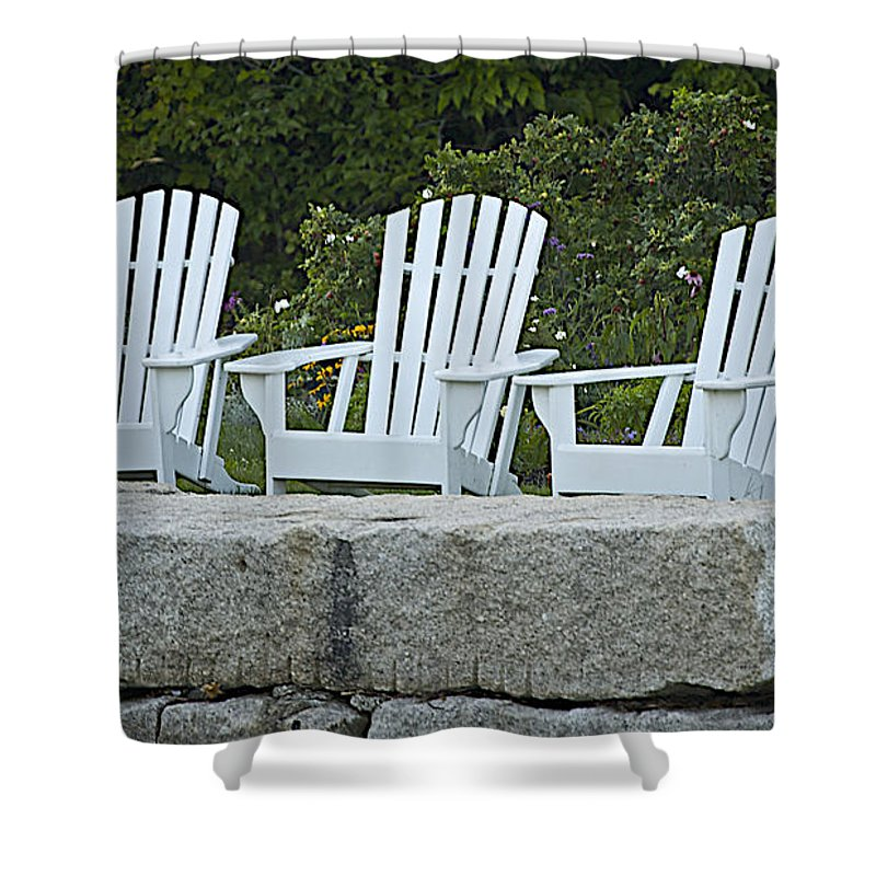 Chair Shower Curtain featuring the photograph Come Sit A Spell by Faith Harron Boudreau