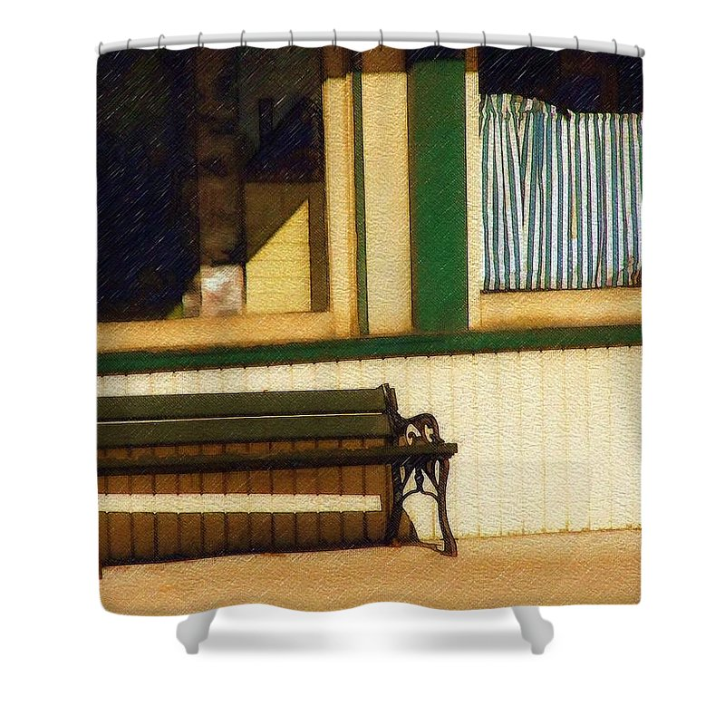 Bench Shower Curtain featuring the photograph Come Sit A Spell by Sandy MacGowan