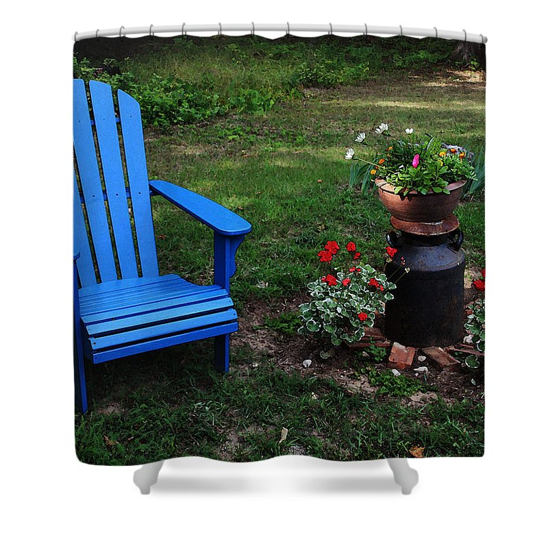 Adirondack Chair Shower Curtain featuring the photograph Come Sit by Joanne Coyle