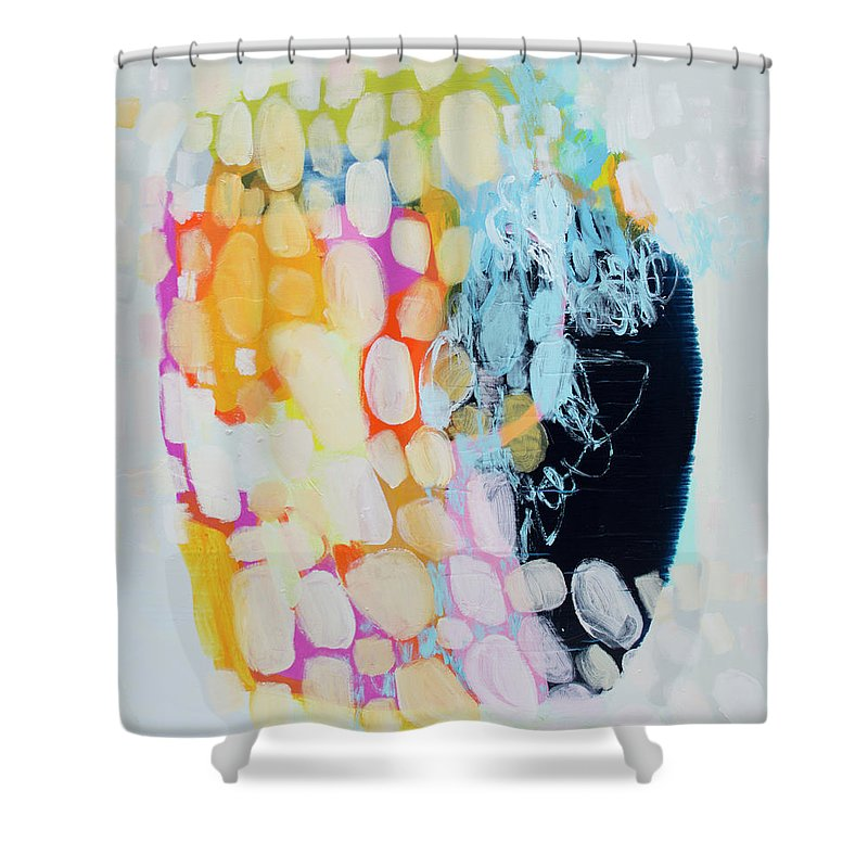 Abstract Shower Curtain featuring the painting Come To Bed by Claire Desjardins