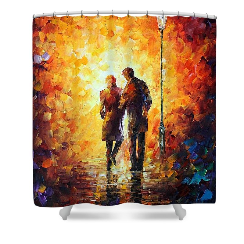 Afremov Shower Curtain featuring the painting Come Together by Leonid Afremov
