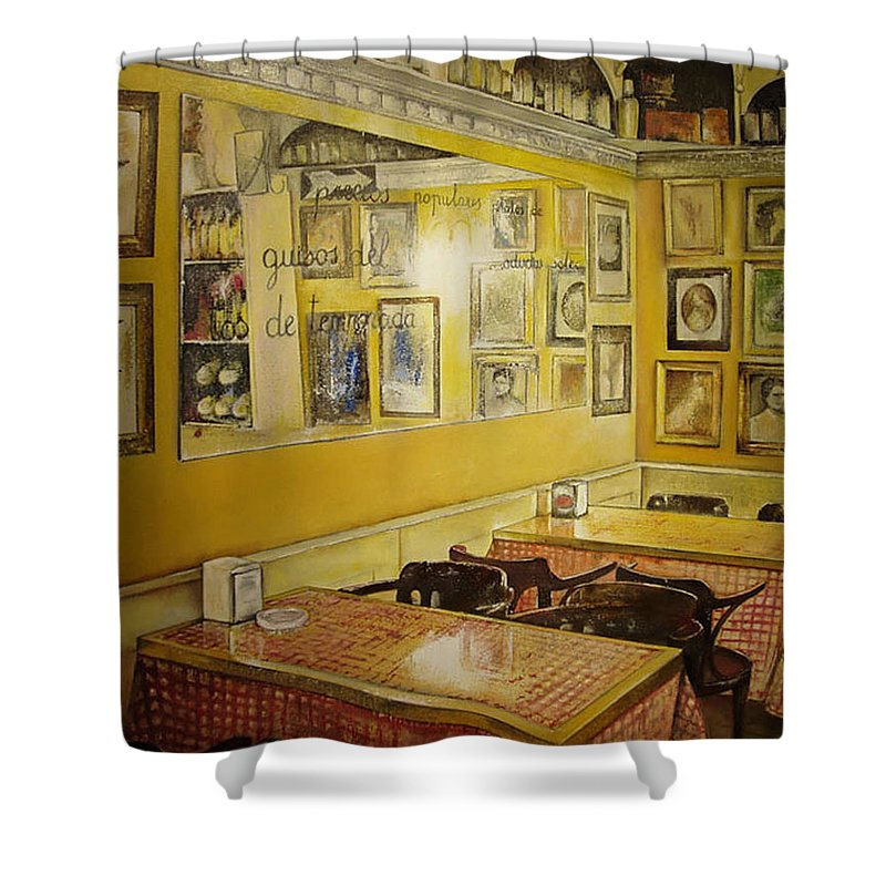 Interior Shower Curtain featuring the painting Comedor Interior by Tomas Castano