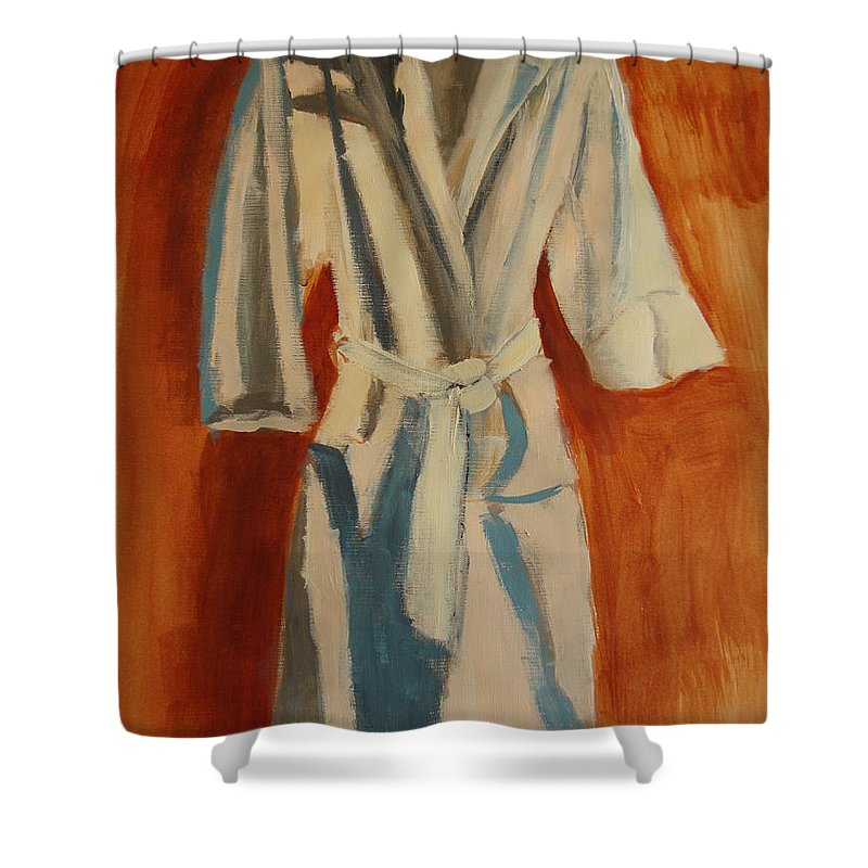 Comfortable Shower Curtain featuring the painting Comfort Calling by Deby Kalush