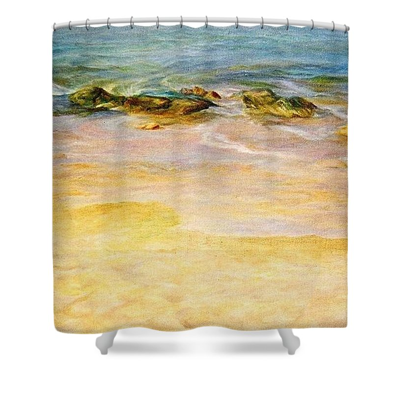 Sea Shower Curtain featuring the painting Comfort. by Maya Bukhina