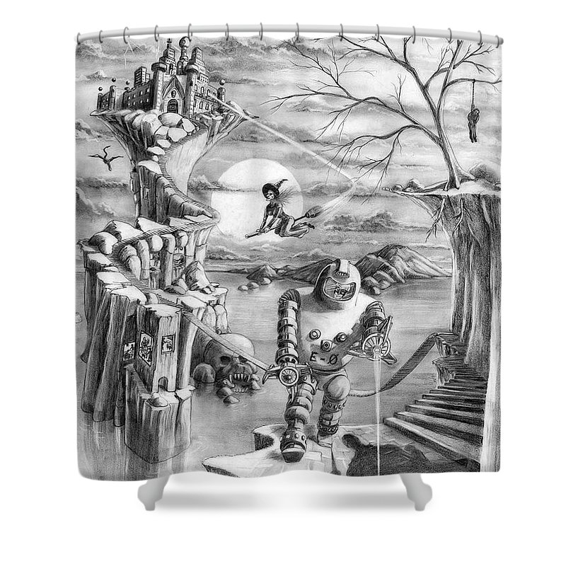 Witch Shower Curtain featuring the drawing Comic Book Cover by Murphy Elliott