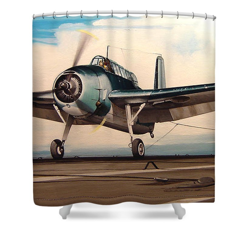 Painting Shower Curtain featuring the painting Coming Aboard by Marc Stewart