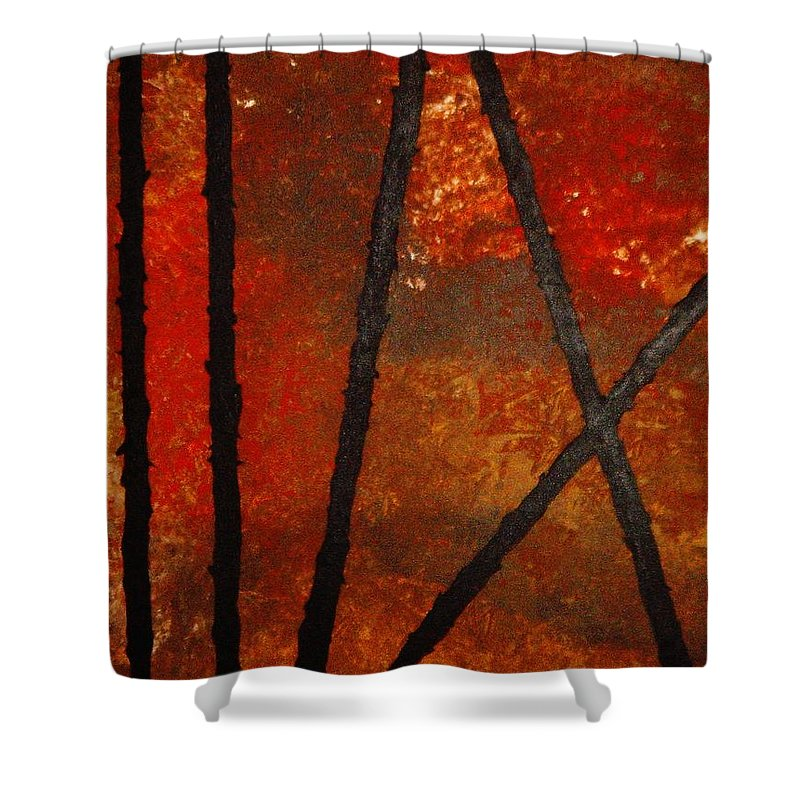 Original Abstract Acrylic Shower Curtain featuring the painting Coming Apart by Todd Hoover