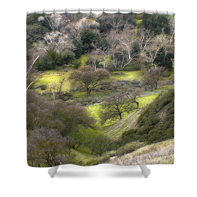 Landscapes Shower Curtain featuring the photograph Coming Down The Hill by Karen W Meyer