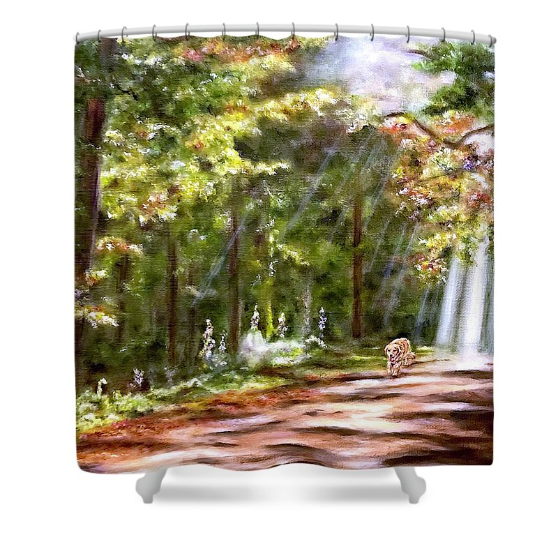 Dog Shower Curtain featuring the painting Coming Home by Dr Pat Gehr