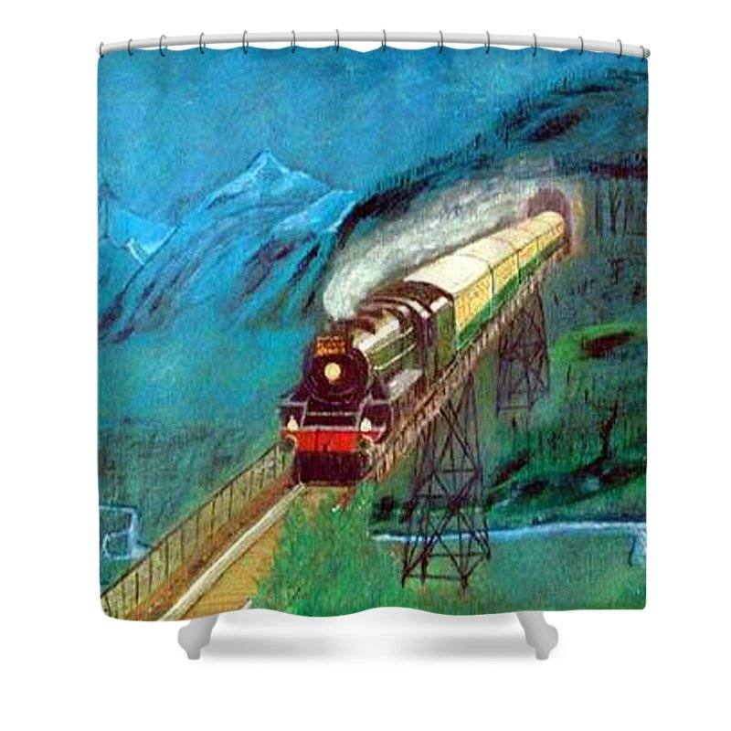 Trains Shower Curtain featuring the painting Coming Through The Tunnel by Richard Le Page