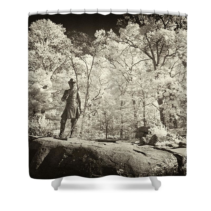 Gettysburg Battlefield Shower Curtain featuring the photograph Commanding General by Paul W Faust - Impressions of Light