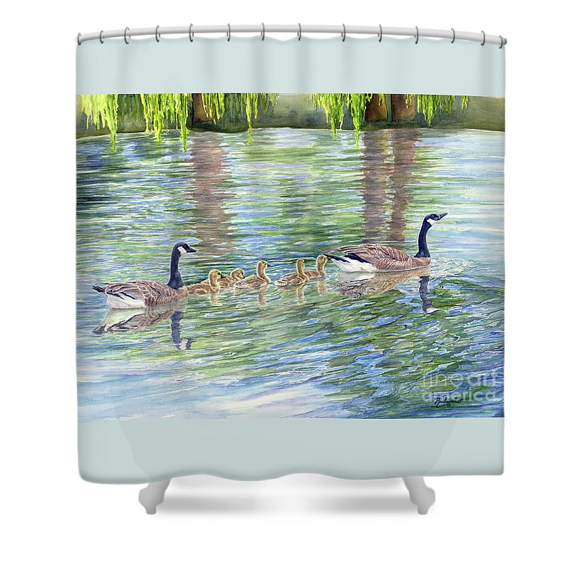 Canadian Geese Shower Curtain featuring the painting Commitment by Malanda Warner