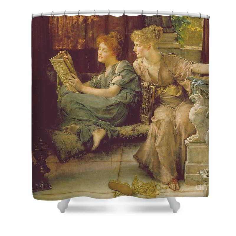 Female Shower Curtain featuring the painting Comparison by Sir Lawrence Alma-Tadema