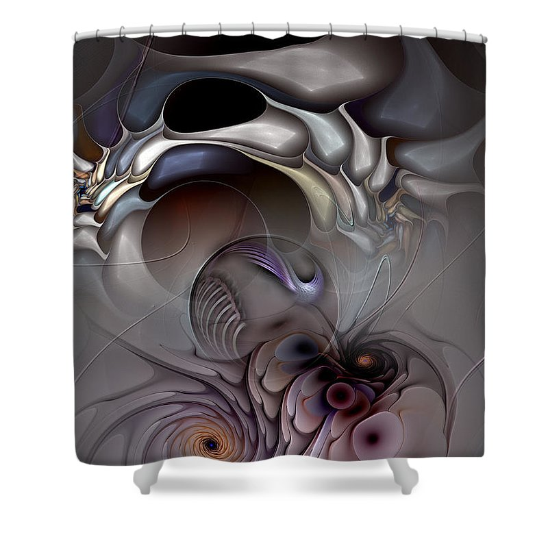 Abstract Shower Curtain featuring the digital art Compartmentalized Delusion by Casey Kotas