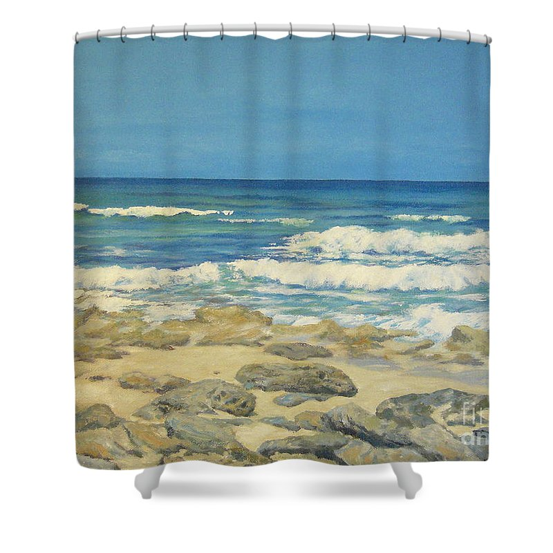 Compass Cay Shower Curtain featuring the painting Compass Cay by Danielle Perry