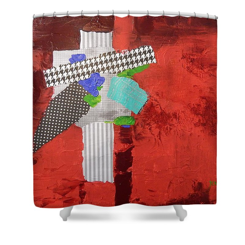 Abstract Shower Curtain featuring the painting Compass Of Winds by Sue Furrow