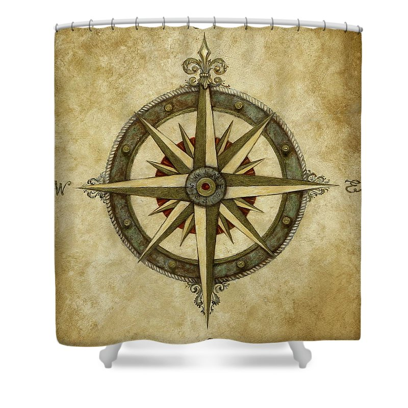 Compass Rose Shower Curtain For Sale By Judy Merrell