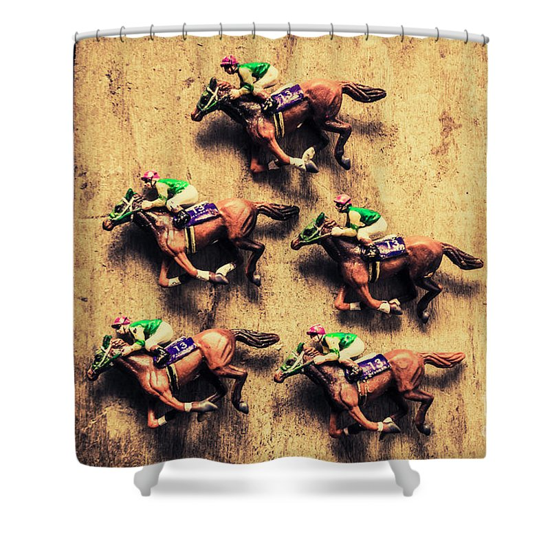 Race Shower Curtain featuring the photograph Competition Win Concept by Jorgo Photography - Wall Art Gallery