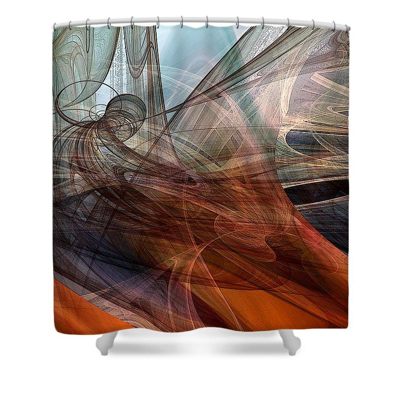 Abstract Shower Curtain featuring the digital art Complex Decisions by Ruth Palmer