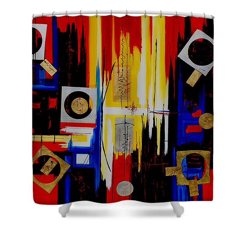 Abstract Shower Curtain featuring the painting Composition - 4 - by Miroslav Stojkovic - Miro