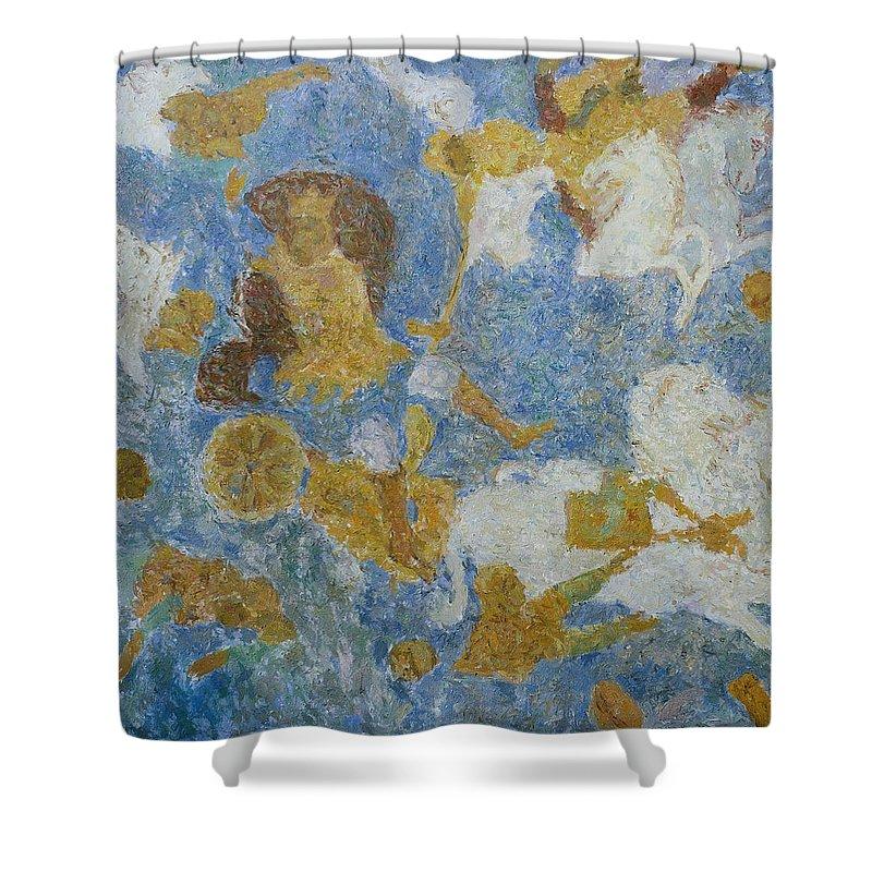 Pharaoh Shower Curtain featuring the painting Exodus by Robert Nizamov