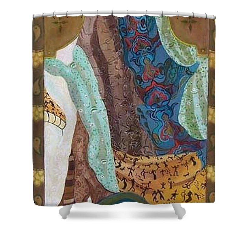 Shower Curtain featuring the painting Composition With Scarfs by Antoaneta Melnikova- Hillman