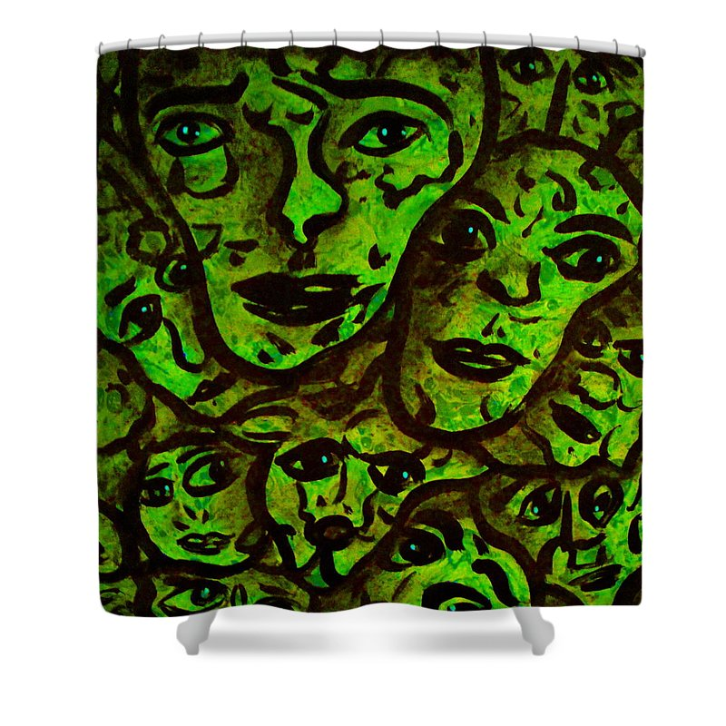 Expressionism Shower Curtain featuring the mixed media Compressed by Natalie Holland