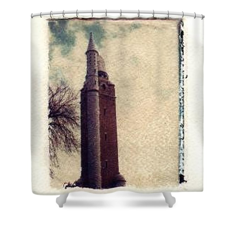 Polaroid Transfer Shower Curtain featuring the photograph Compton Water Tower by Jane Linders