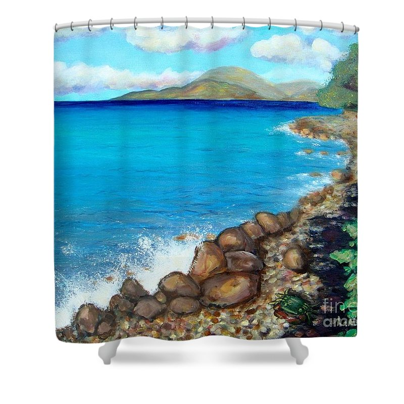 Water Shower Curtain featuring the painting Concealed Crustacean by Laurie Morgan