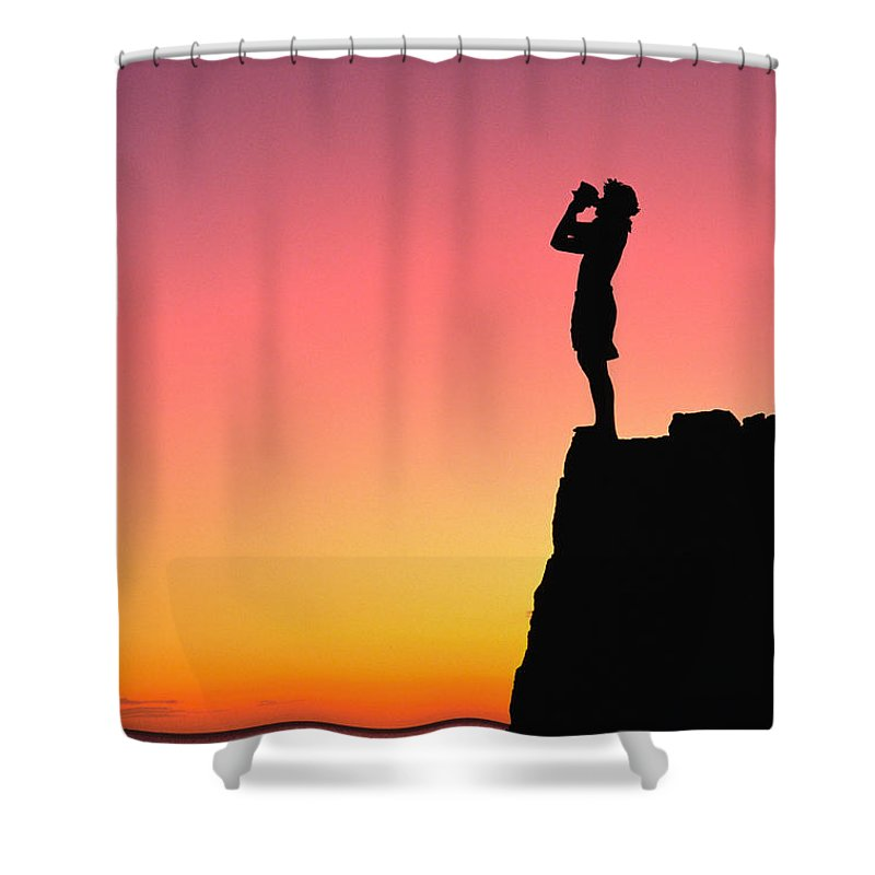 Aloha Shower Curtain featuring the photograph Conch Shell Blower by William Waterfall - Printscapes