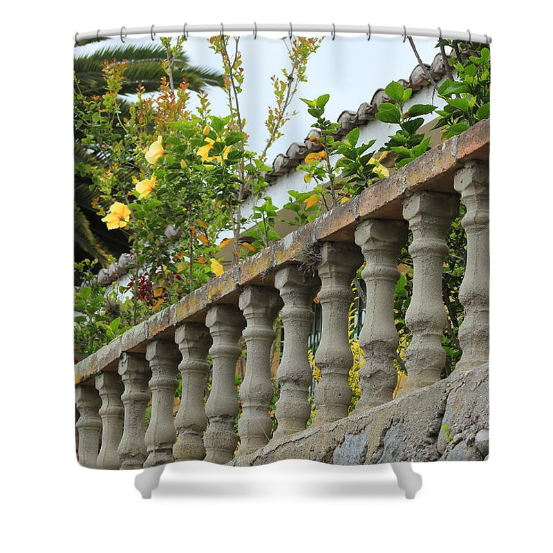 Banister Shower Curtain featuring the photograph Concrete Banister And Plants by Robert Hamm