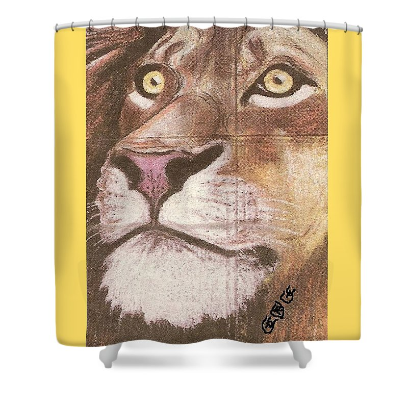 Lions Shower Curtain featuring the painting Concrete Lion by George I Perez