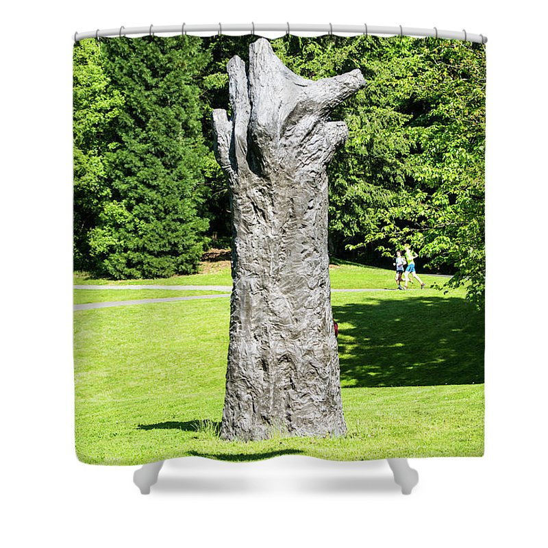 Concrete Tree On Campus Shower Curtain featuring the photograph Concrete Tree On Campus by Tom Cochran