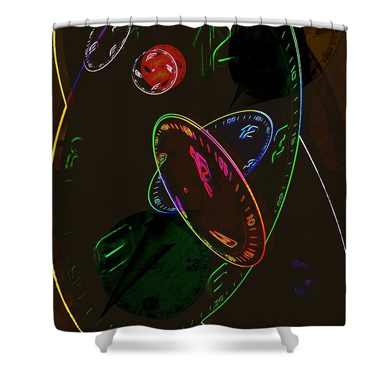Clocks Shower Curtain featuring the digital art Concurrent Clocks by Helmut Rottler