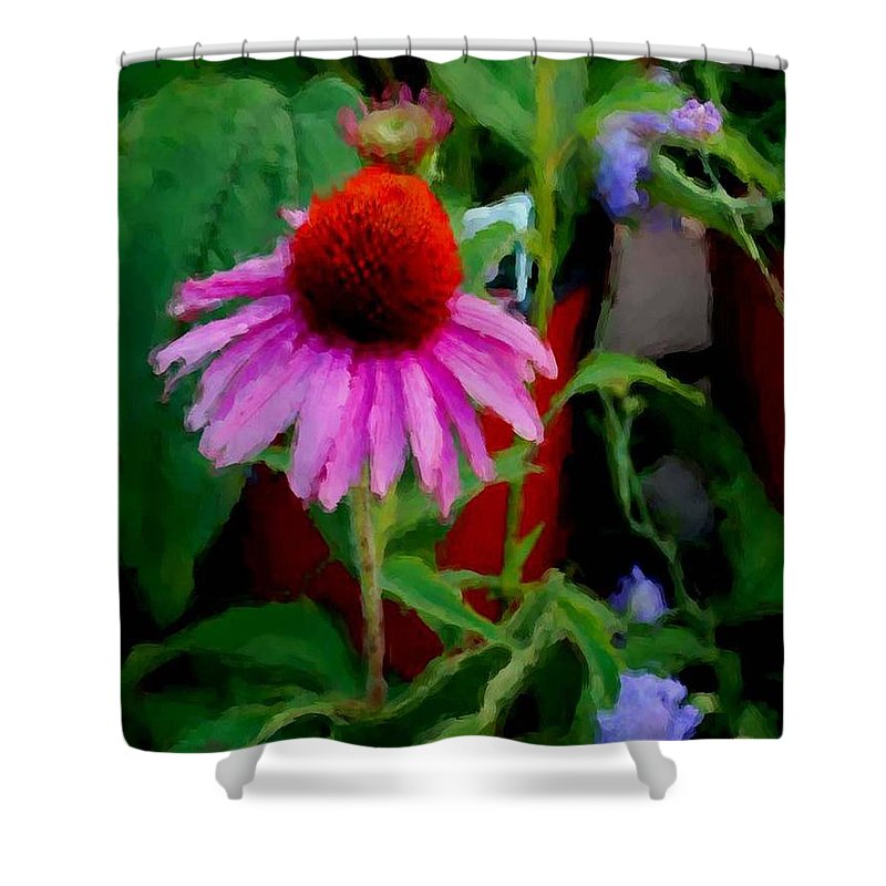 Sunflowers Shower Curtain featuring the painting Coneflower by Michael Thomas