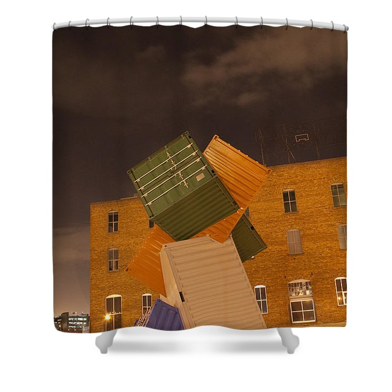 Conex Shower Curtain featuring the pastel Conex 5 by Angus Hooper Iii