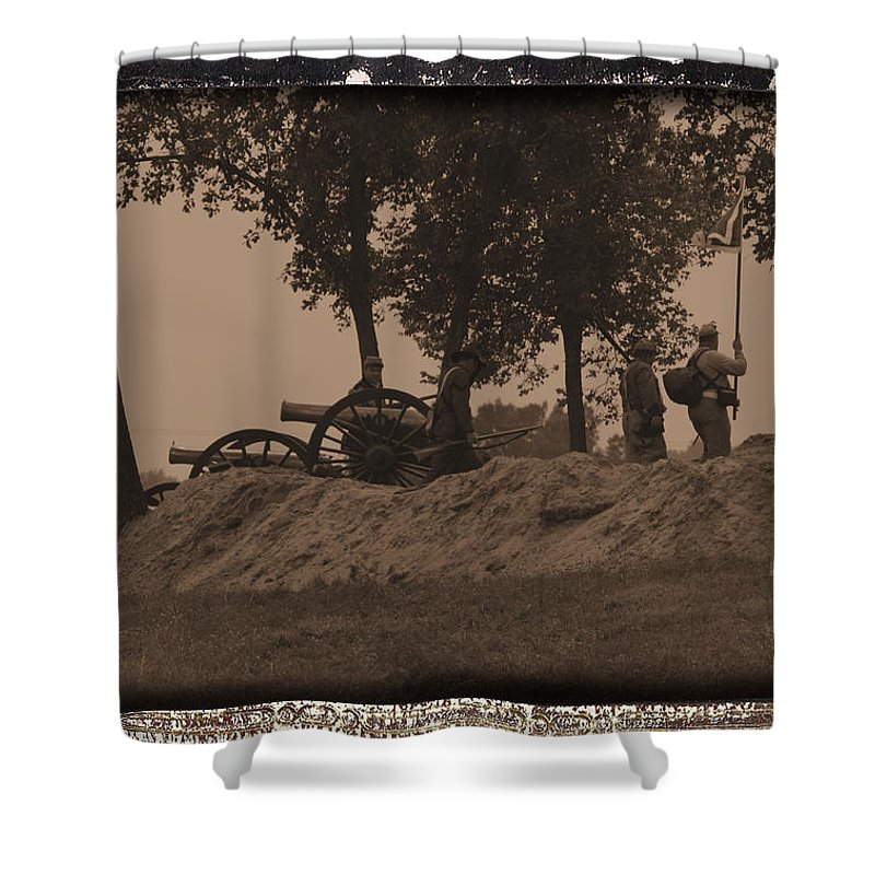 Confederate Artillery Battery Shower Curtain featuring the photograph Confederate Artillery Battery by Tommy Anderson
