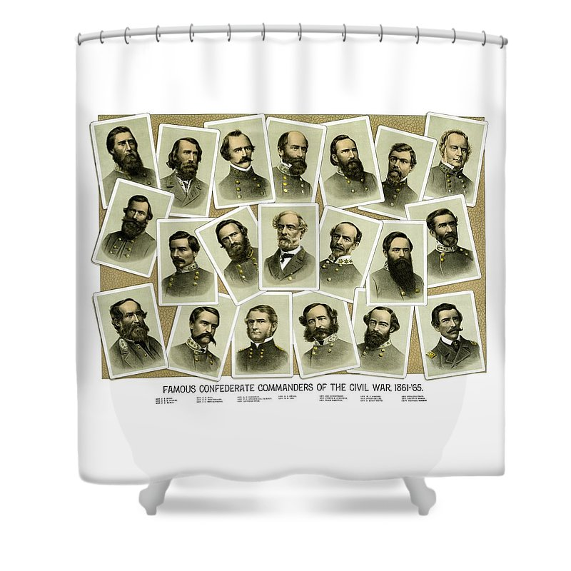 Civil War Shower Curtain featuring the painting Confederate Commanders Of The Civil War by War Is Hell Store