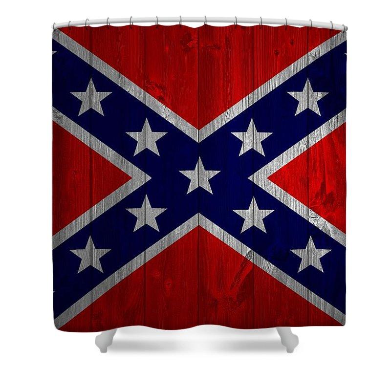 Confederate Flag Barn Door Shower Curtain featuring the mixed media Confederate Flag Barn Door by Dan Sproul