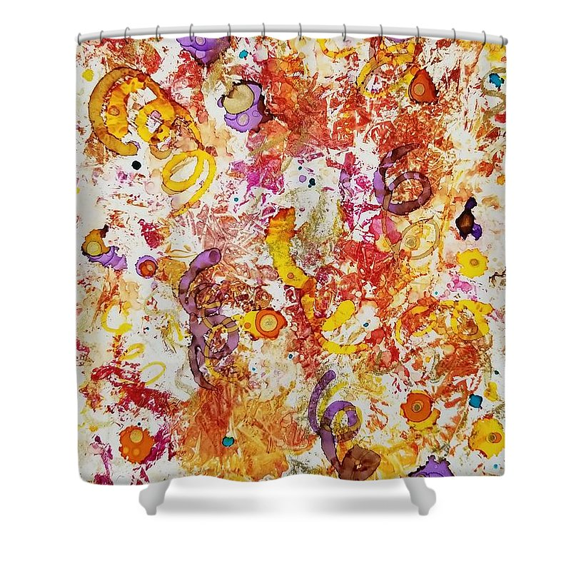 Alcohol Ink Abstract Yupo Shower Curtain featuring the painting Confetti by Donna Perry