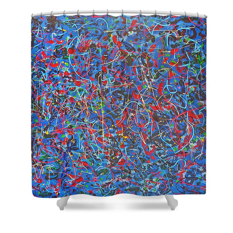 Abstract Shower Curtain featuring the painting Confetti by Ericka Herazo
