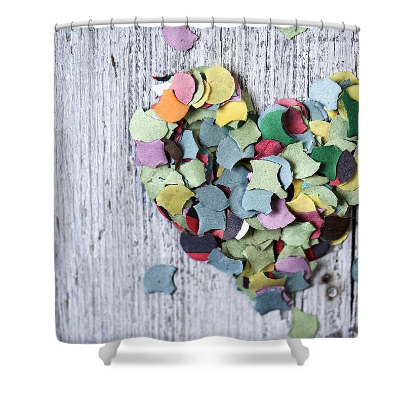 Heart Shower Curtain featuring the photograph Confetti Heart by Nailia Schwarz