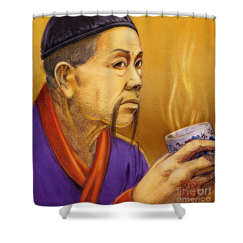 Oriental Shower Curtain featuring the painting Confucian Sage by Melissa A Benson