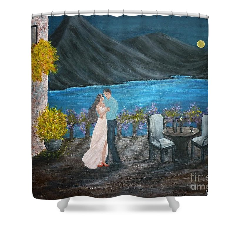 Couple Shower Curtain featuring the painting Connected by Andreea Moldovan