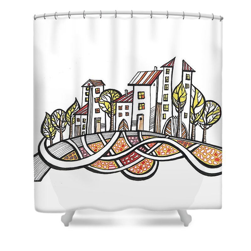 Houses Shower Curtain featuring the drawing Connections by Aniko Hencz